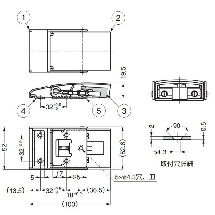ランプ印ステンレス鋼製ファスナーSTF100 STF100 120-044-024