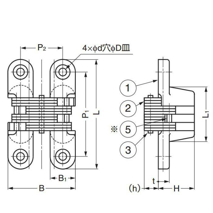 LAMP ルーター用隠し丁番 R型 R-43 170-090-079