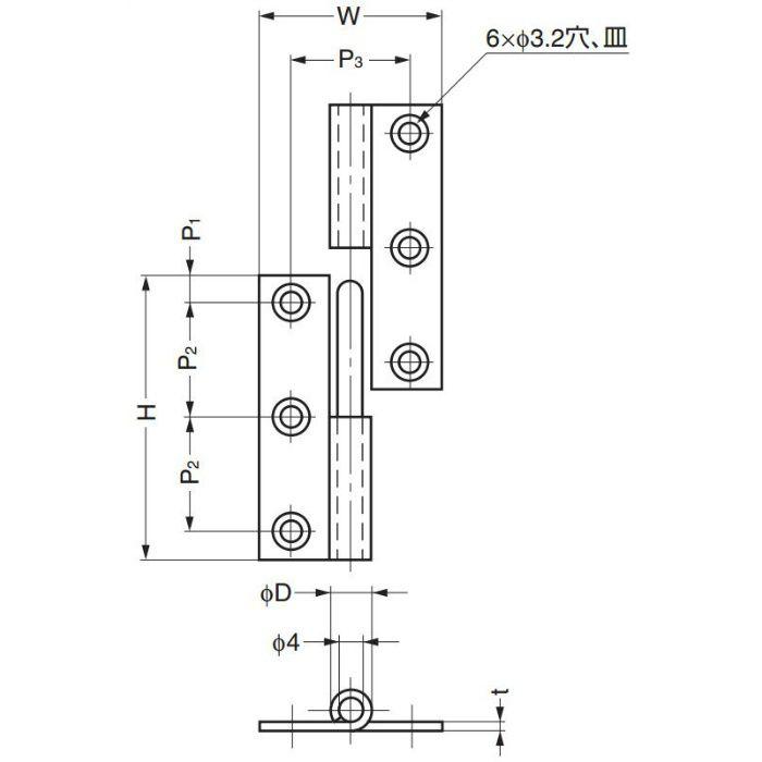 抜き差し丁番 KN型 KN-50CR 170-090-743
