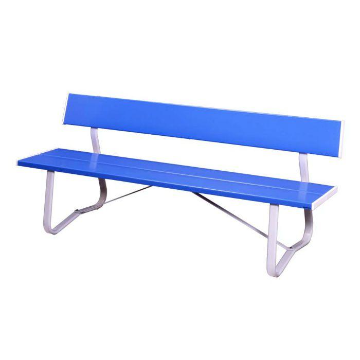 ベンチ LW-Em (1800背付) 座板:ブルー/フレーム他:ホワイト