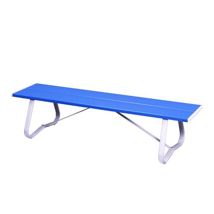 ベンチ LC-Em (1800背無) 座板:ブルー/フレーム他:ホワイト