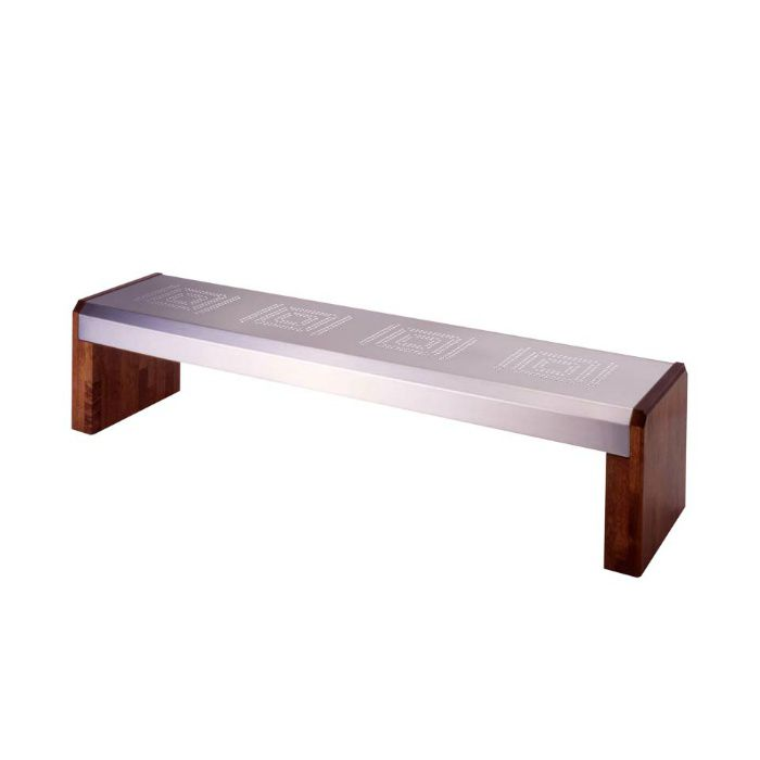 ベンチ WS1 座板:ステンレスヘアーライン仕上/脚:木ニス仕上