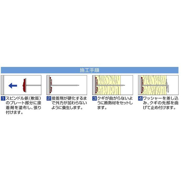 スピンドル鋲 真鍮軟質テープ付 65mm 1000本/小箱