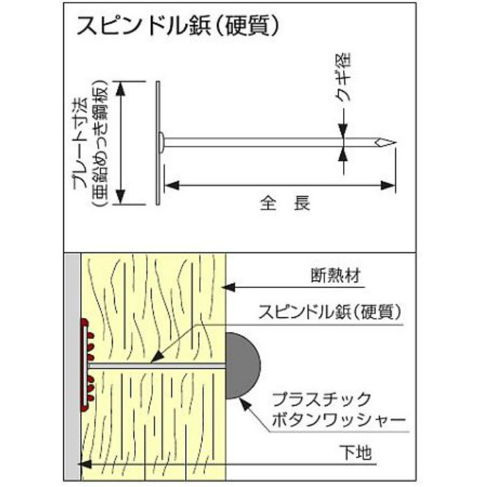 スピンドル鋲 真鍮硬質38 38mm 1000本/小箱
