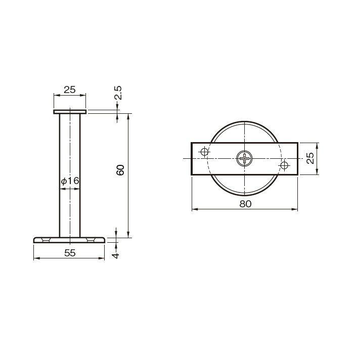 平受直型 H60 木ネジ用 222-281