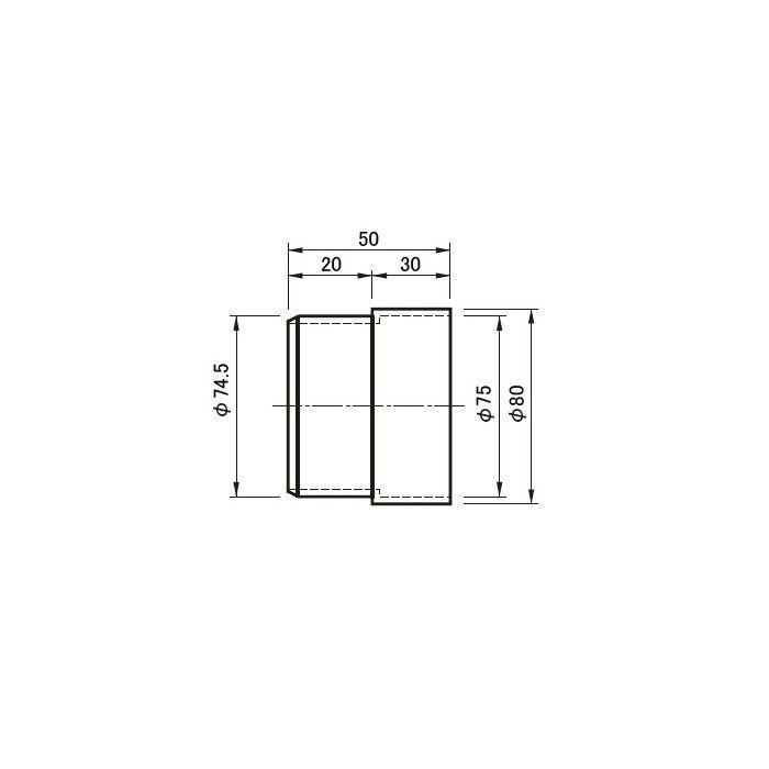 仕上りジョイントパイプ 30型×75 312-536 グレー 280個/ケース