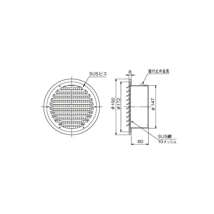SUSベントキャップ SG 150CB10M 326-455 12個/ケース