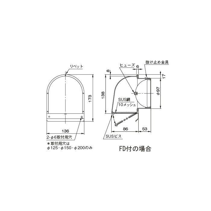 SUS2型フード付メッシュ FSW 100F10MDSP 327-324 10個/ケース