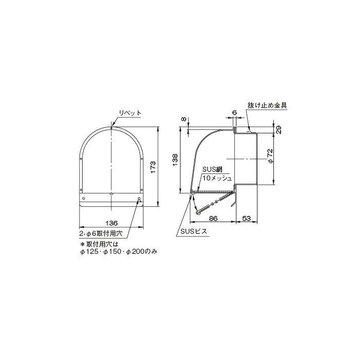 SUS2型フード付メッシュ FSW 75F10M 327-318 10個/ケース