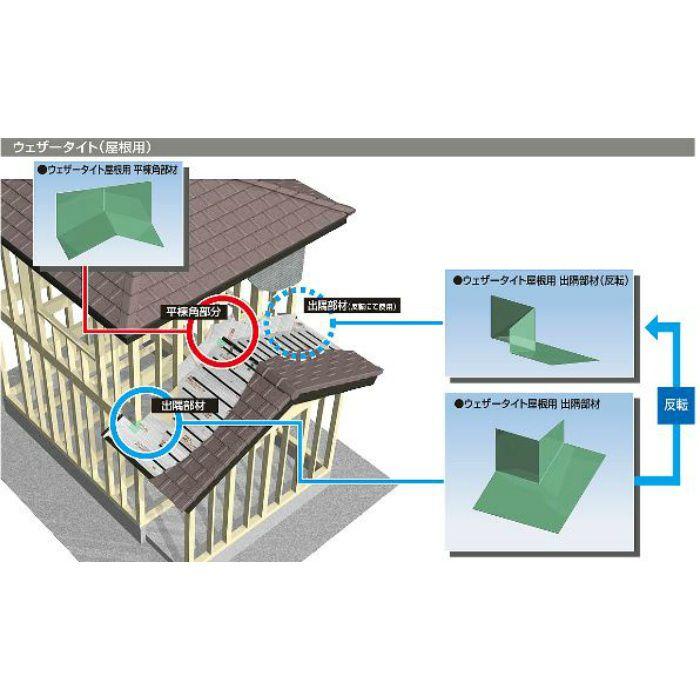 WTYHKS ウェザータイト屋根用 平棟角部材 急勾配用 グリーン
