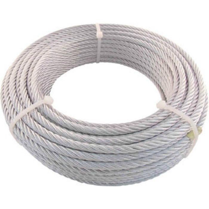 JIS規格品メッキ付ワイヤロープ (6X19)Φ6mmX30m 7599498