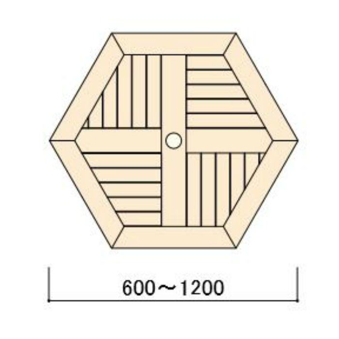 コンビネーションテーブル 六角形天板0606