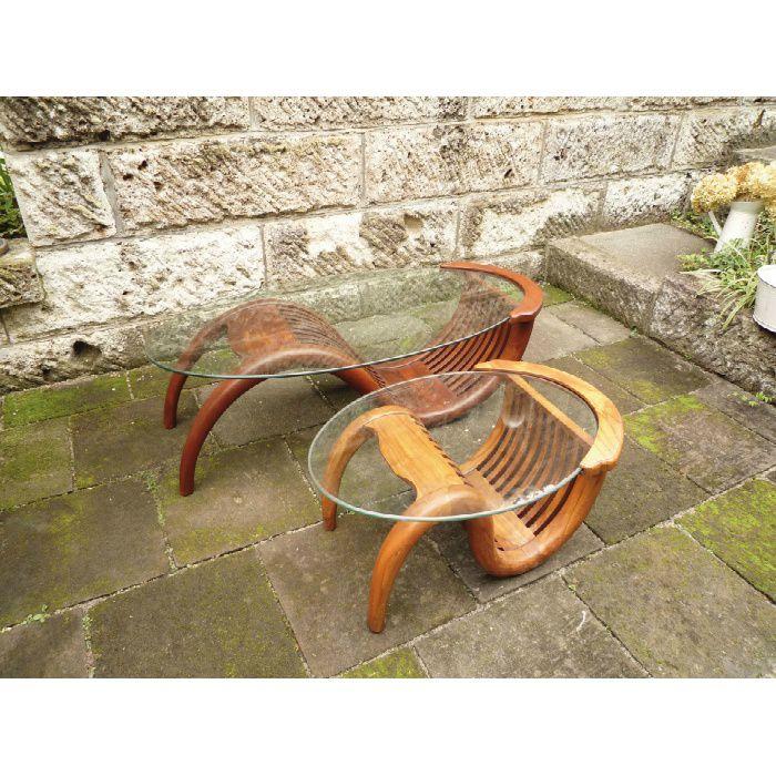 ミニチークガラステーブル (塗装品)