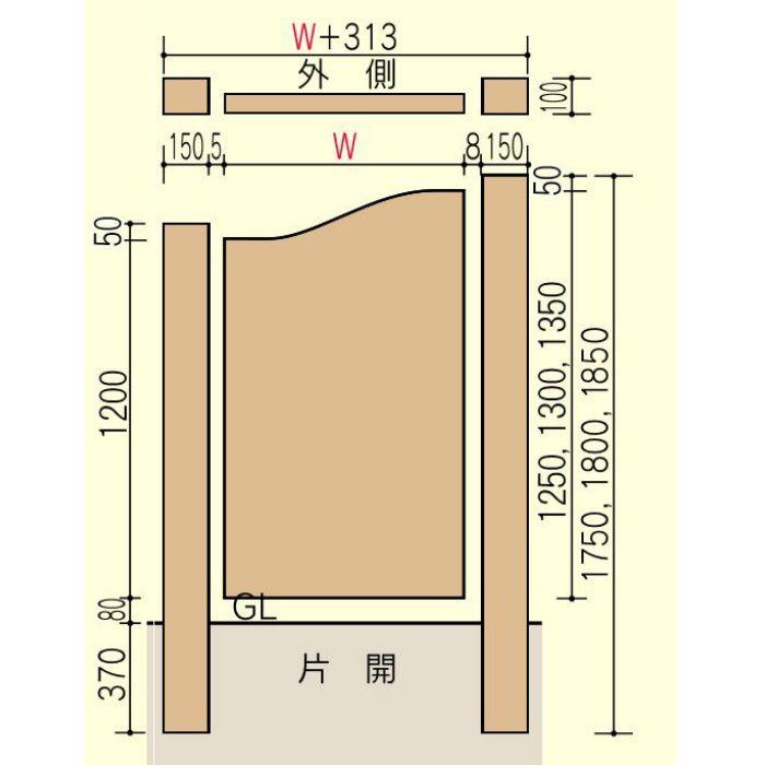 ウッド門扉 扇2型 本体 0712