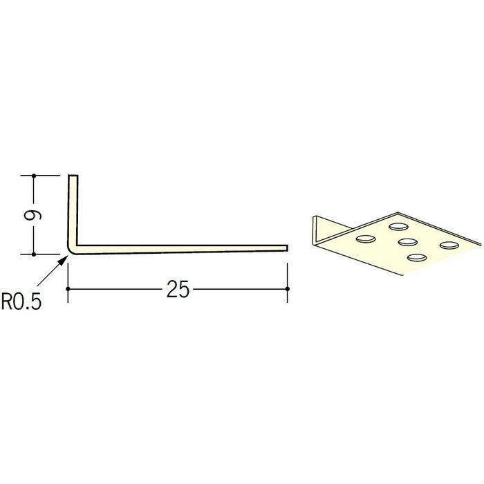ペンキ・クロス下地材 ドア廻り ビニール L型コーナー9×25穴あき ミルキー 2.73m  01291-2