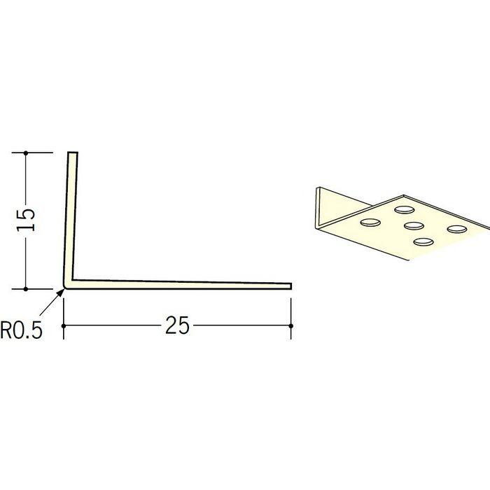 ペンキ・クロス下地材 ドア廻り ビニール L型コーナー15×25穴あき ミルキー 2.73m  01293-2