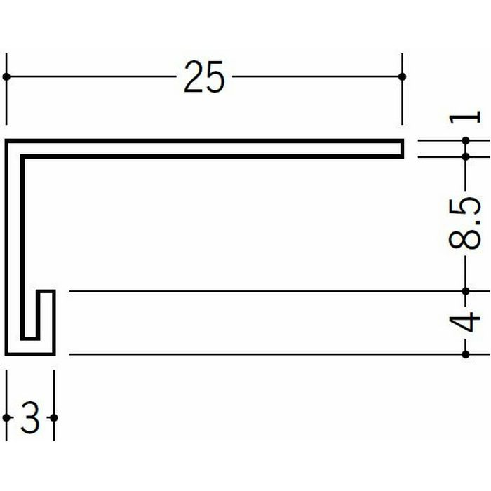 コ型見切縁 天井廻り ビニール 見切 LP-8.5 ホワイト 2m  36202