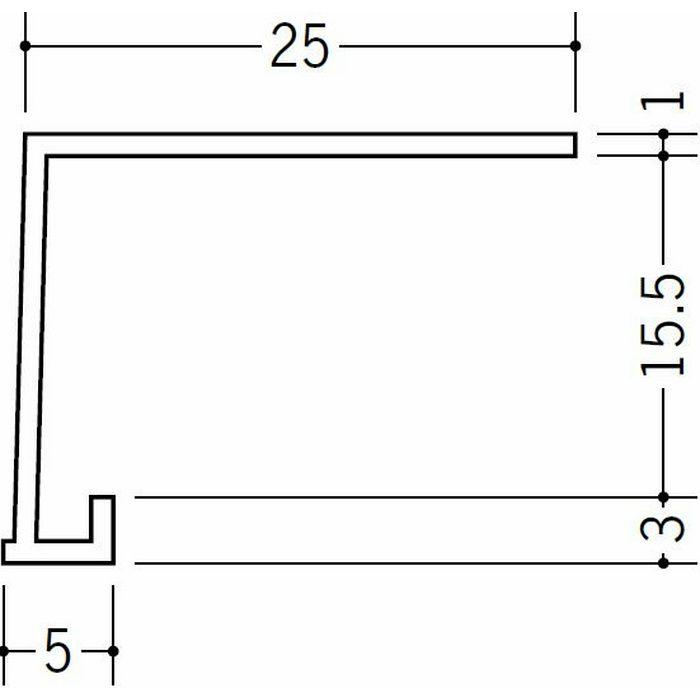 コ型見切縁 ビニール 見切 FC-15S ホワイト 1.82m  34126