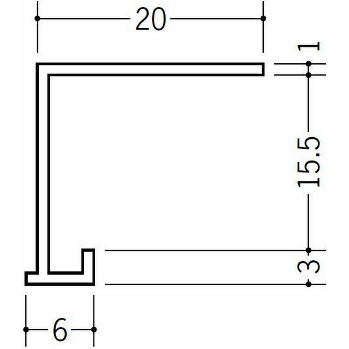 コ型見切縁 ビニール 見切 FD-15.5 ホワイト 2m  34115