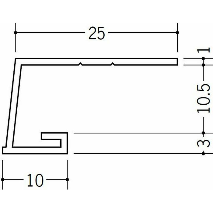 コ型見切縁 ビニール 見切 A1-10.5N ホワイト 1.82m  33039