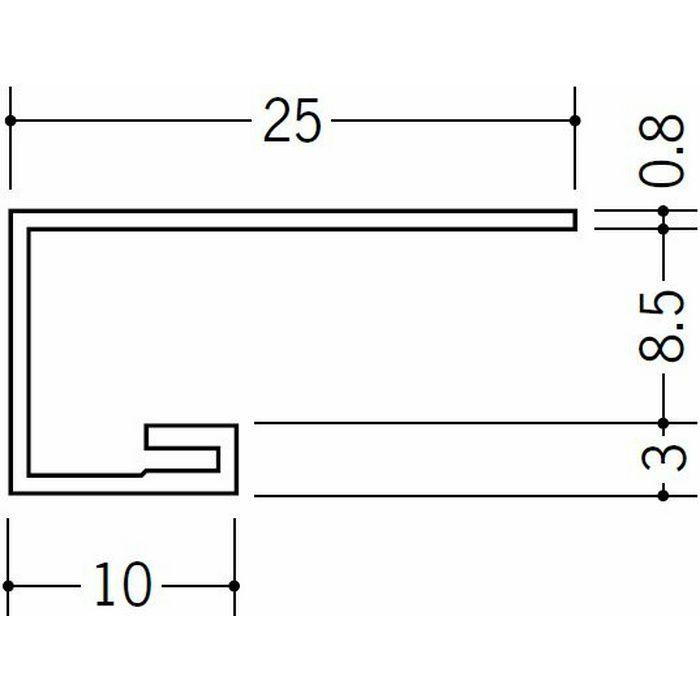 コ型見切縁 ビニール 見切 AG-8.5S ホワイト 2m  22010-1