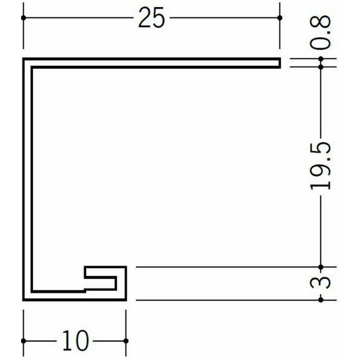 コ型見切縁 ビニール 見切 AG-19.5S ホワイト 2.3m  22017-2