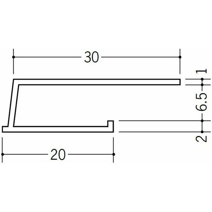 コ型見切縁 ビニール 見切 LB-6.5 ホワイト 2m  34191