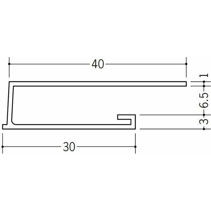 コ型見切縁 ビニール 見切 LAW-6 ホワイト 2m  34361