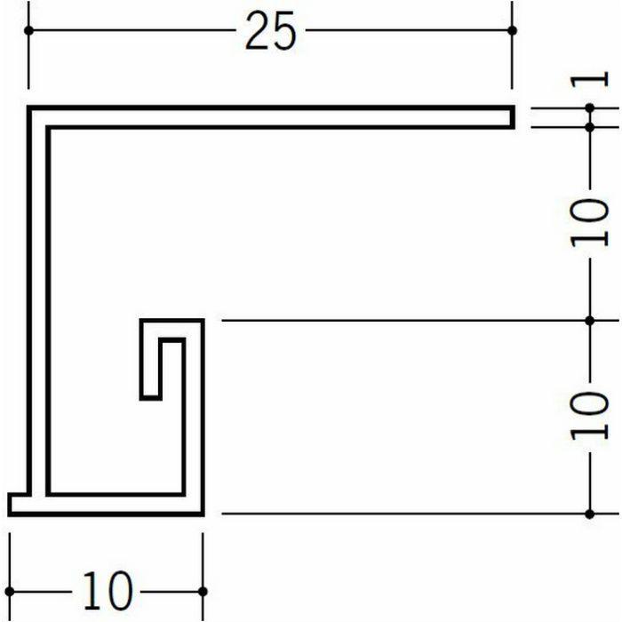 ?型見切縁 ビニール 見切 PLM-10 ホワイト 2m  36197