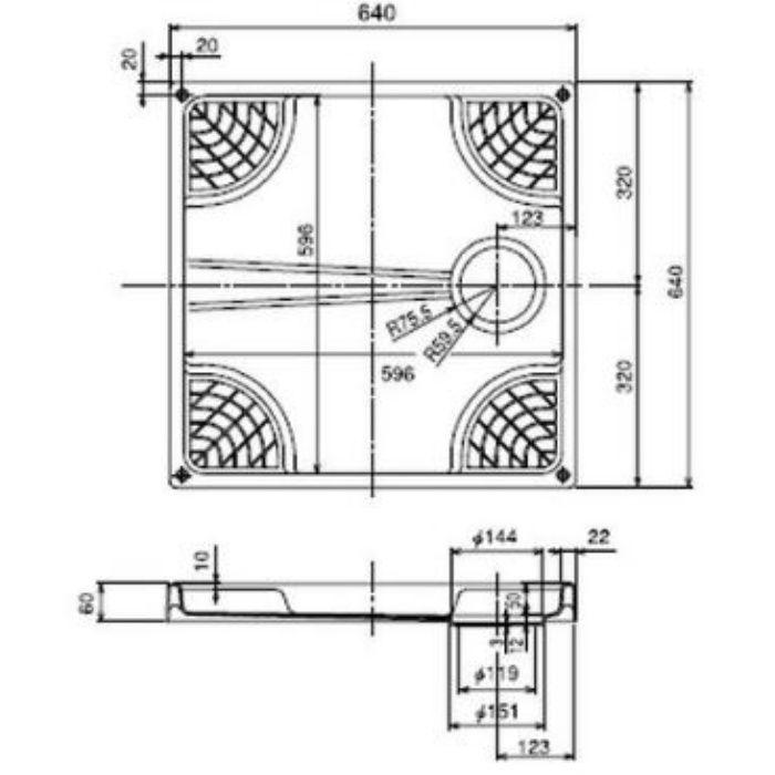 洗濯機用防水パン W640タイプ(縦トラップ) ホワイト TNM640TCW