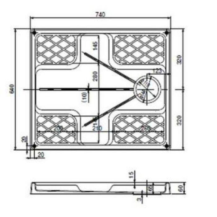 洗濯機用防水パン W740タイプ(縦トラップ) ホワイト TNM740TCW