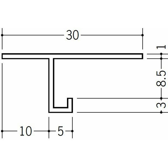 目透かし型見切縁 ビニール 見切 MTS-8 ホワイト 2m  33230
