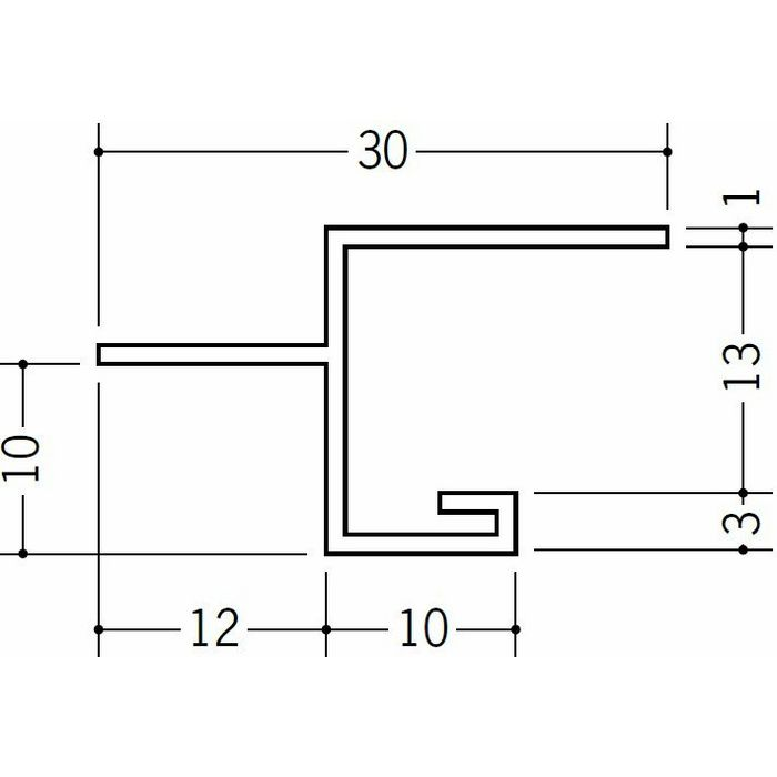 目透かし型見切縁 ビニール 見切 BVM-12 ホワイト 2m  33095