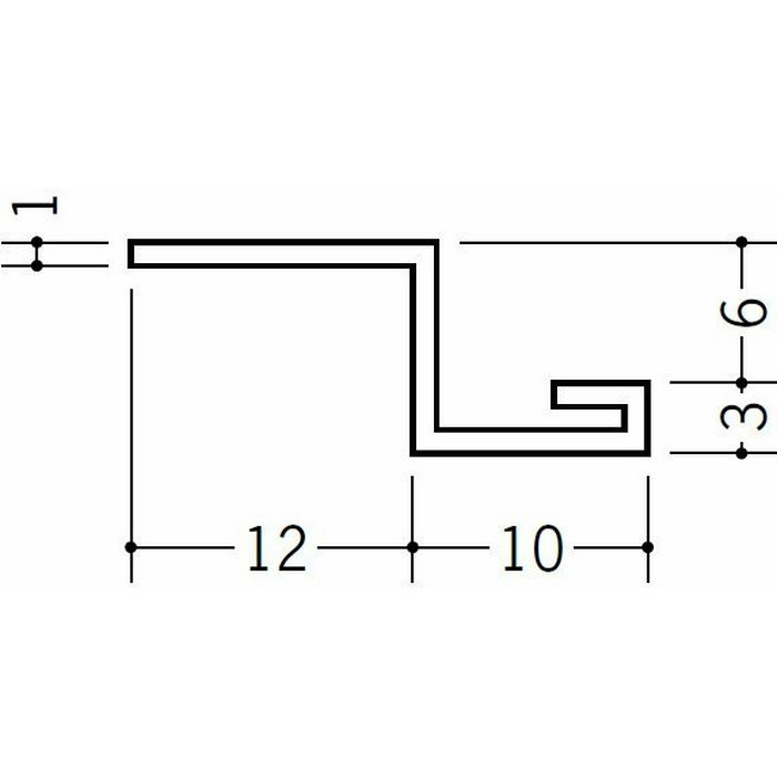 目透かし型見切縁 ビニール 見切 6.5ZE ホワイト 1.82m  37011