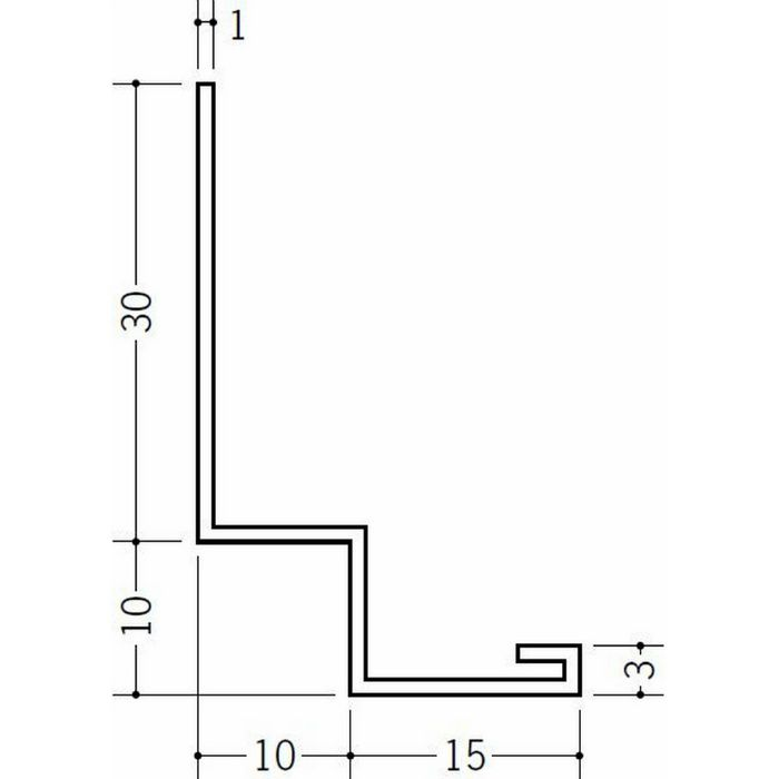 壁付け型見切縁 ビニール 見切 PFL-150 ホワイト 2m  31086