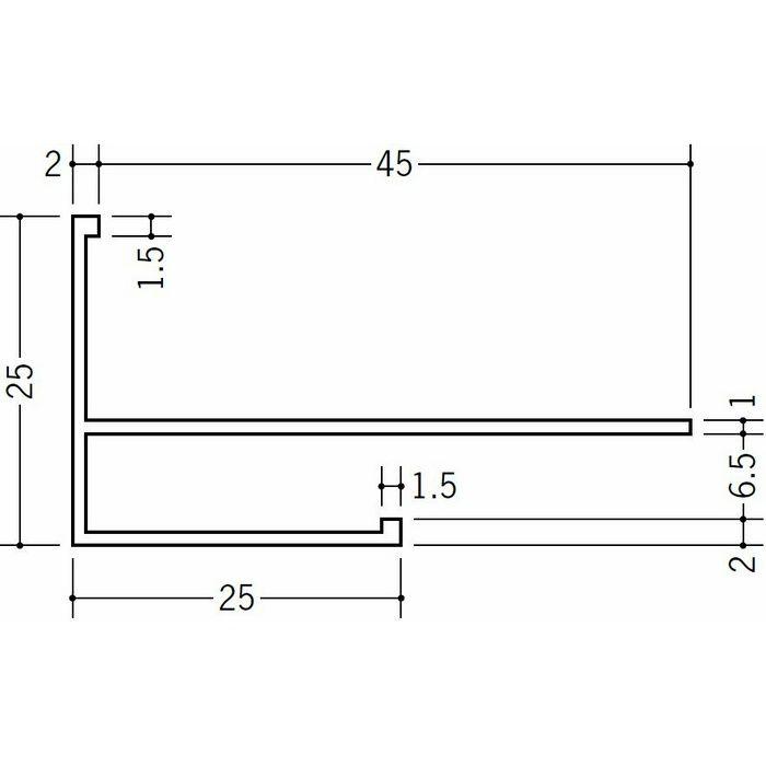 下がり壁用見切縁 ビニール 見切 MCX-625F ホワイト 2m  33507