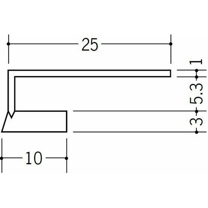 R自在見切縁 コ型 ビニール 見切 FR-5  テープなし ホワイト 1.82m  33183