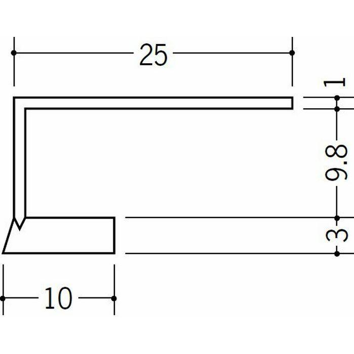 R自在見切縁 コ型 ビニール 見切 FR-10 テープなし ホワイト 1.82m  33171