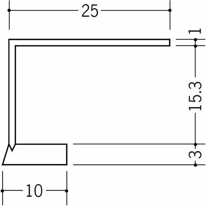 R自在見切縁 コ型 ビニール 見切 FR-15 テープなし ホワイト 1.82m  33200