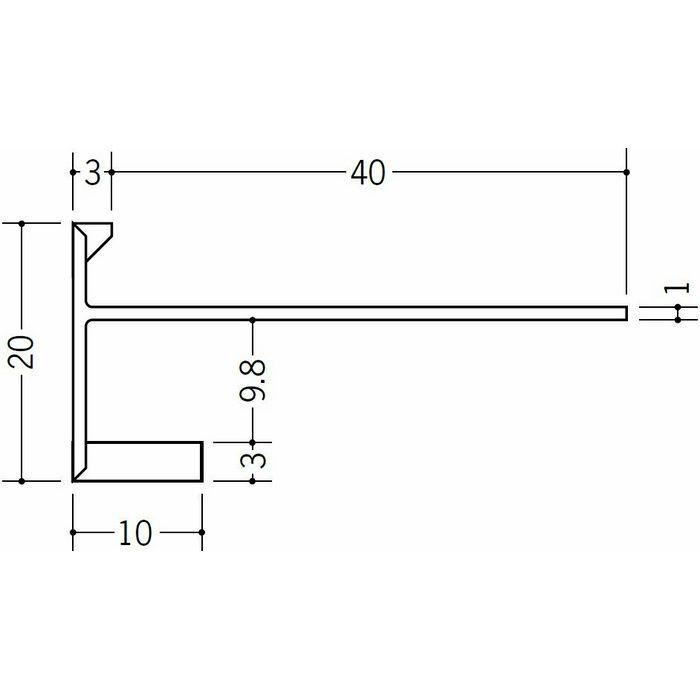 R自在見切縁 下がり壁用 ビニール 見切 EF-10 テープなし ホワイト 2m  33178