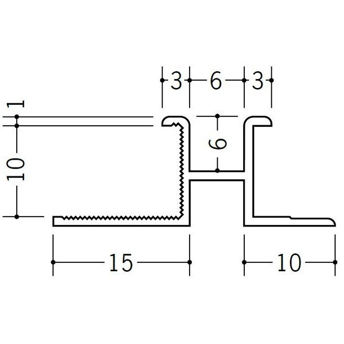 ハット型ジョイナー ビニール PM-6×10 ホワイト 1.82m  35154