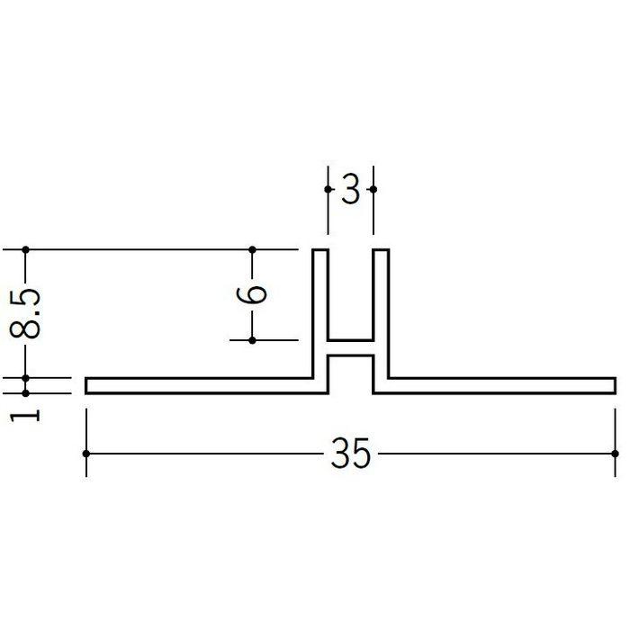 ハット型ジョイナー ビニール PHW-8 ホワイト 3m  37117-2