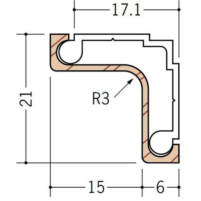 カンゴウアングル ビニール 後付け入隅15 木目調(ベース:ホワイト) 2.73m  36251-3