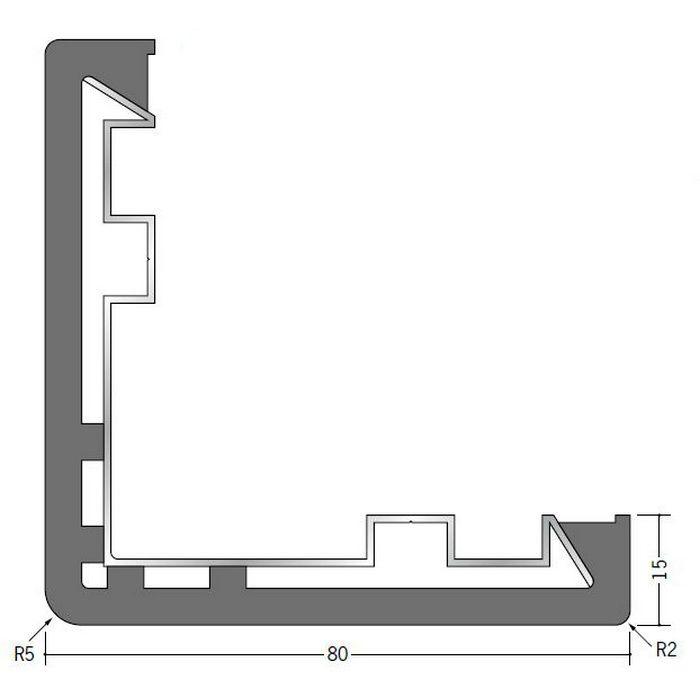 コーナー保護アングル ビニール クッションガード L-80 ブラック 2m  09008-6