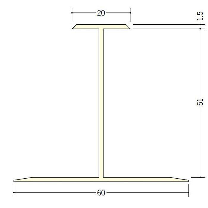 断熱材用ジョイナー H型 ビニール H型51 クリーム 2.73m  35062-2