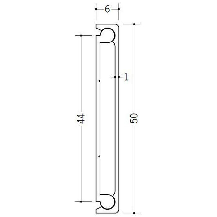 腰壁見切 ビニール Pモール50 アイボリー(ベース:ホワイト) 2m  33264-2