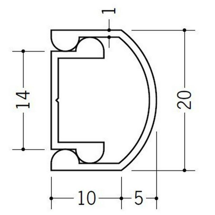 腰壁見切 ビニール 腰かべモール R-20 ホワイト 2m  57181-1