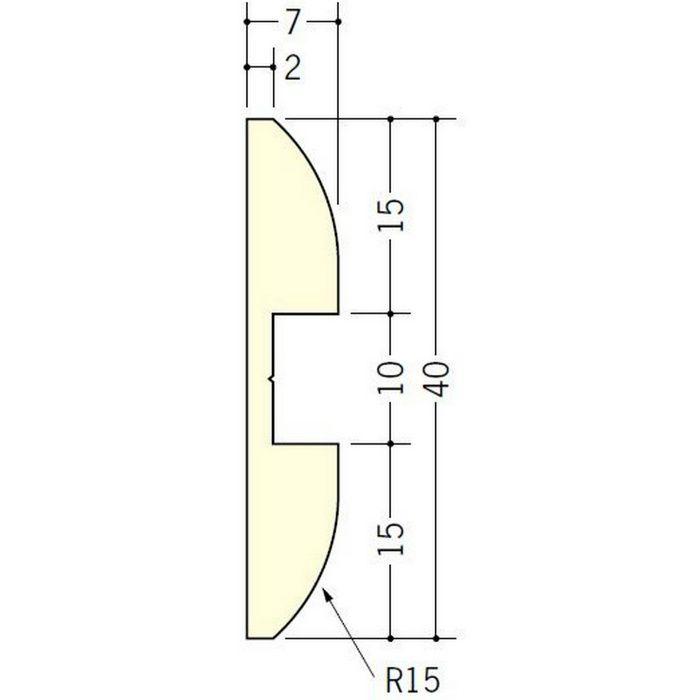 腰壁見切 ビニール 目地棒FF-40 アイボリー 2m  33257-2