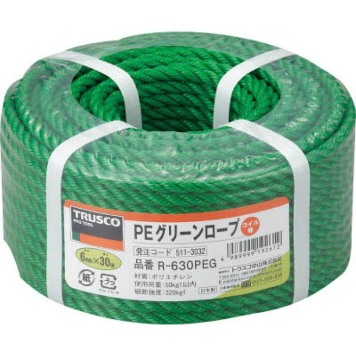 R630PEG PEグリーンロープ 3つ打 線径6mmX長さ30m