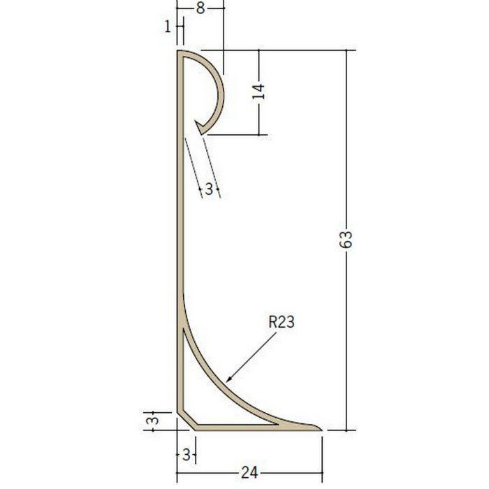 立ち上げ見切 ビニール 立上げ見切7型―60 ベージュ 2m  38004-2